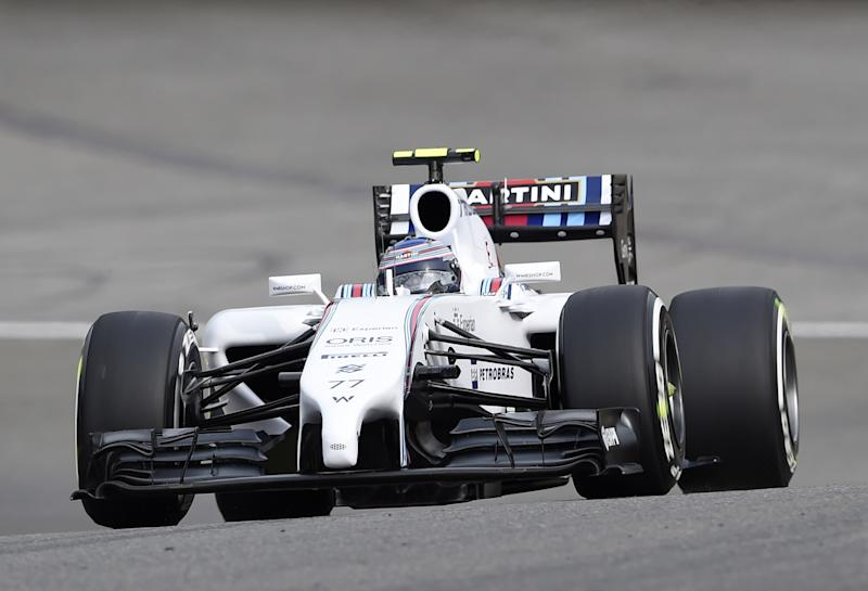 Williams' Finnish driver Valtteri Bottas drives during the first practice session at the Spa-Francorchamps circuit in Spa on August 22, 2014 ahead of the Belgium Formula One Grand Prix