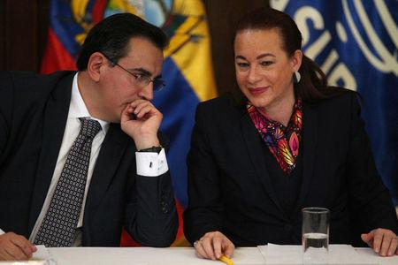 Ecuador's Foreign Minister Maria Fernanda Espinosa and Vice Minister Rolando Suarez talk during a news conference in Quito, Ecuador January 11, 2018.  REUTERS/Daniel Tapia