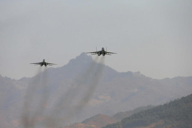 <p>Airplanes are shown during a flight drill for the inspection of airmen of the Korean People's Army (KPA) Air and Anti-Air Force in this undated photo. (KCNA/Reuters) </p>