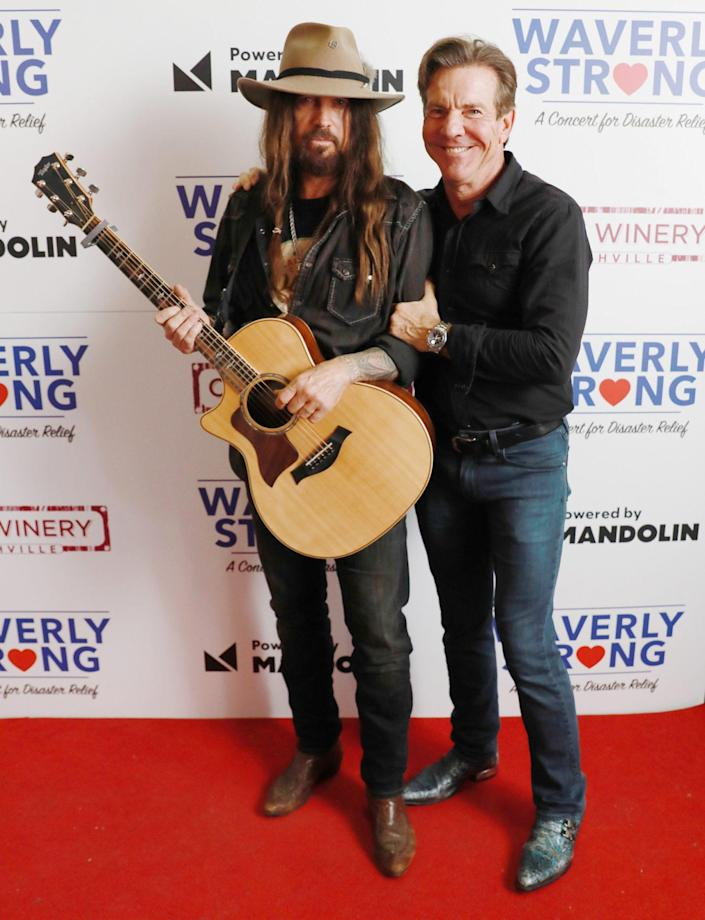<p>Billy Ray Cyrus and Dennis Quaid pose at the Waverly Strong Concert: A Concert for Disaster Relief at City Winery Nashville on Sept. 7.</p>