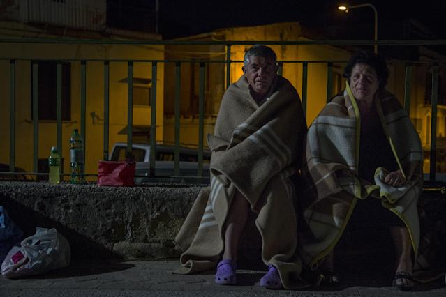 <p>Residents of Ischia Island those affected by the earthquake in Casamicciola Terme, spend the night outside as a precaution, after 4.0-magnitude richter scale earthquake hit Ischia Island of Naples, Italy on Aug. 22, 2017. (Photo: Alessio Paduano/Anadolu Agency/Getty Images) </p>