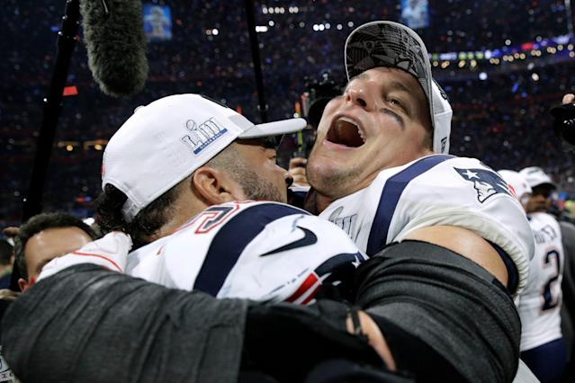 Rob Gronkowski, right, is retired ... for now. (AP Photo)