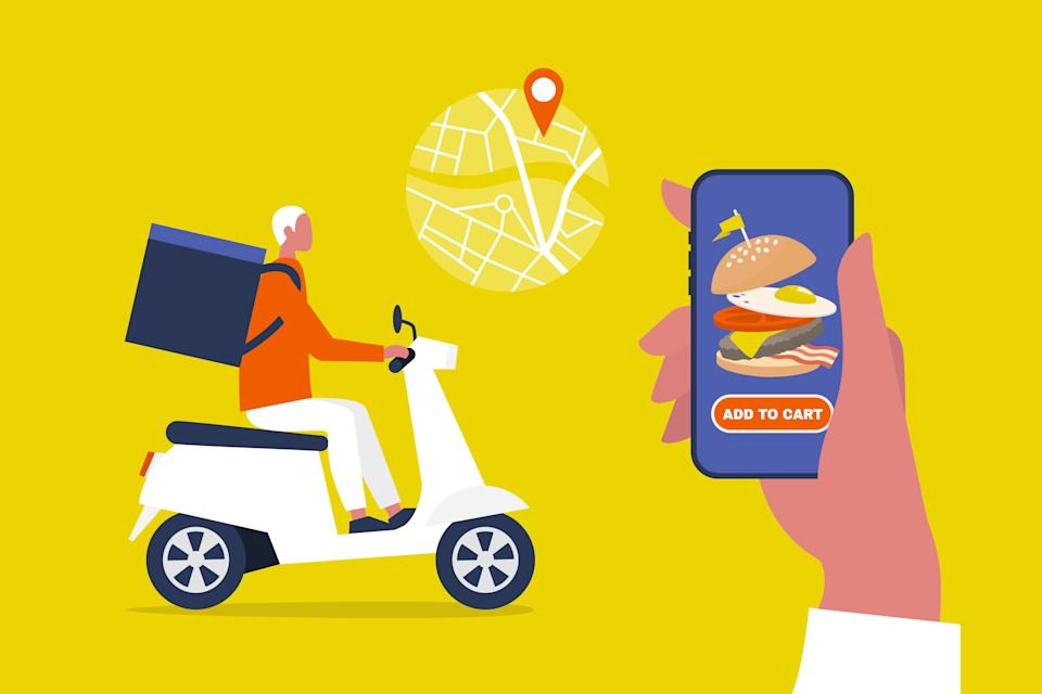 Keep in mind that when you order delivery from an app, the drivers are likely gig workers who miss out on employee benefits. (Photo: nadia_bormotova via Getty Images)