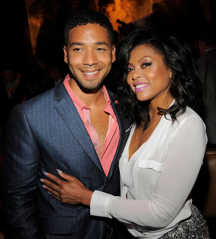 "Actor Jussie Smollett, left, poses with Taraji P. Henson, a cast member in ""Think Like A Man Too,"" at the post-premiere party for the film on Monday, June 9, 2014 in West Hollywood, Calif. (Photo by Chris Pizzello/Invision/AP)"