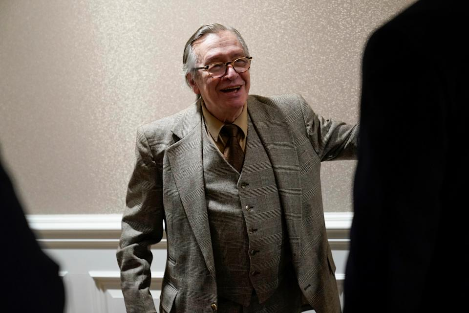 Brazilian writer Olavo de Carvalho arrives for the showing of a documentary on the government of Brazilian President Jair Bolsonaro in Washington, U.S.,  March 16, 2019.      REUTERS/Joshua Roberts
