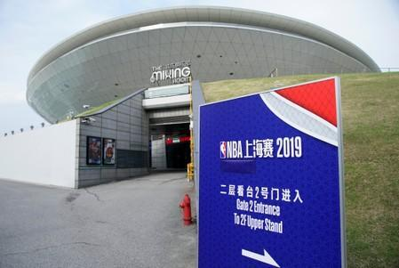 Entrance of the venue for an NBA China game between Brooklyn Nets and Los Angeles Lakers is seen at the Mercedes-Benz Arena in Shanghai