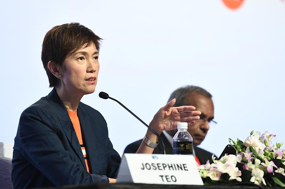Minister for Manpower and Second Minister for Home Affairs Josephine Teo speaking at the Institute of Policy Studies 30th Anniversary conference at Marina Bay Sands on 26 October, 2018. (PHOTO: Jacky Ho, for the Institute of Policy Studies, NUS)