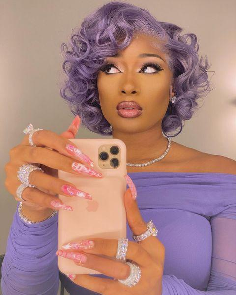 """<p>Icy lavender curls with a Marilyn Monroe shape? Yes, please. </p><p><a href=""""https://www.instagram.com/p/CK4uMPCl9rM/"""" rel=""""nofollow noopener"""" target=""""_blank"""" data-ylk=""""slk:See the original post on Instagram"""" class=""""link rapid-noclick-resp"""">See the original post on Instagram</a></p>"""