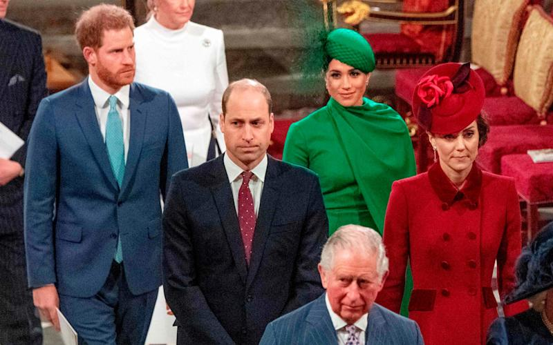 The final joint Royal Family engagement at Westminster Abbey, before the Sussexes left the UK - AFP