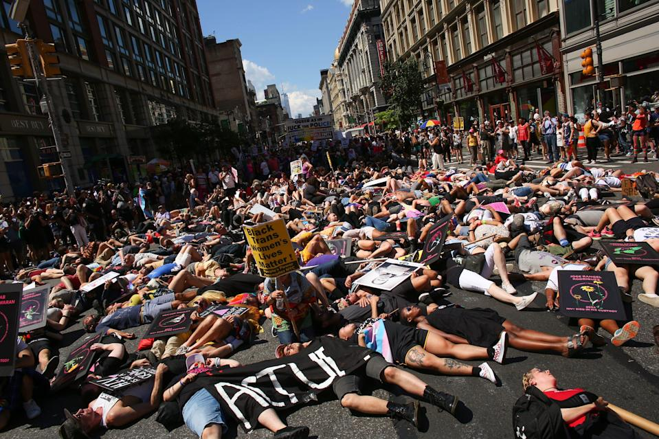 NEW YORK, NY - JUNE 30: Activists lie on Sixth Avenue during the Queer Liberation March on June 30, 2019 in New York City. The march marks the 50th anniversary of the Stonewall riots in the Greenwich Village neighborhood of Manhattan on June 28, 1969, widely considered a watershed moment in the modern gay-rights movement.