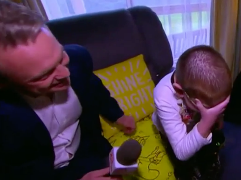 Brave Bryce broke down when surprised on Sunrise about the meeting with Cena. Source: Sunrise