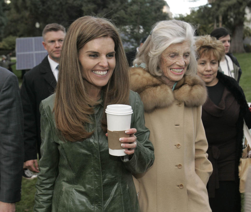 """FILE -- In this Jan. 4, 2007 file photo, Maria Shriver, left, wife of California Gov. Arnold Schwarzenegger, her mother, Eunice Kennedy Shriver, center and family housekeeper Mildred Baena, right, leave Capitol Park in Sacramento, Calif. In an interview with """"60 minutes"""" that is scheduled to air Sunday, Schwarzenegger says the affair he had with Baena, that led to a son, was """"the stupidest thing"""", he ever did to then wife Maria Shriver who filed for divorce last July. (AP Photo/Rich Pedroncelli)"""