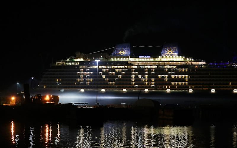 MV Ventura, a cruise ship docked in Southampton, lit up a message - Naomi Baker/Getty Images