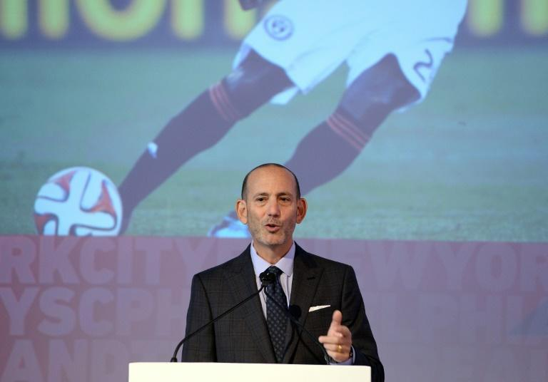 Major League Soccer (MLS) commissioner Don Garber speaks during an event in New York