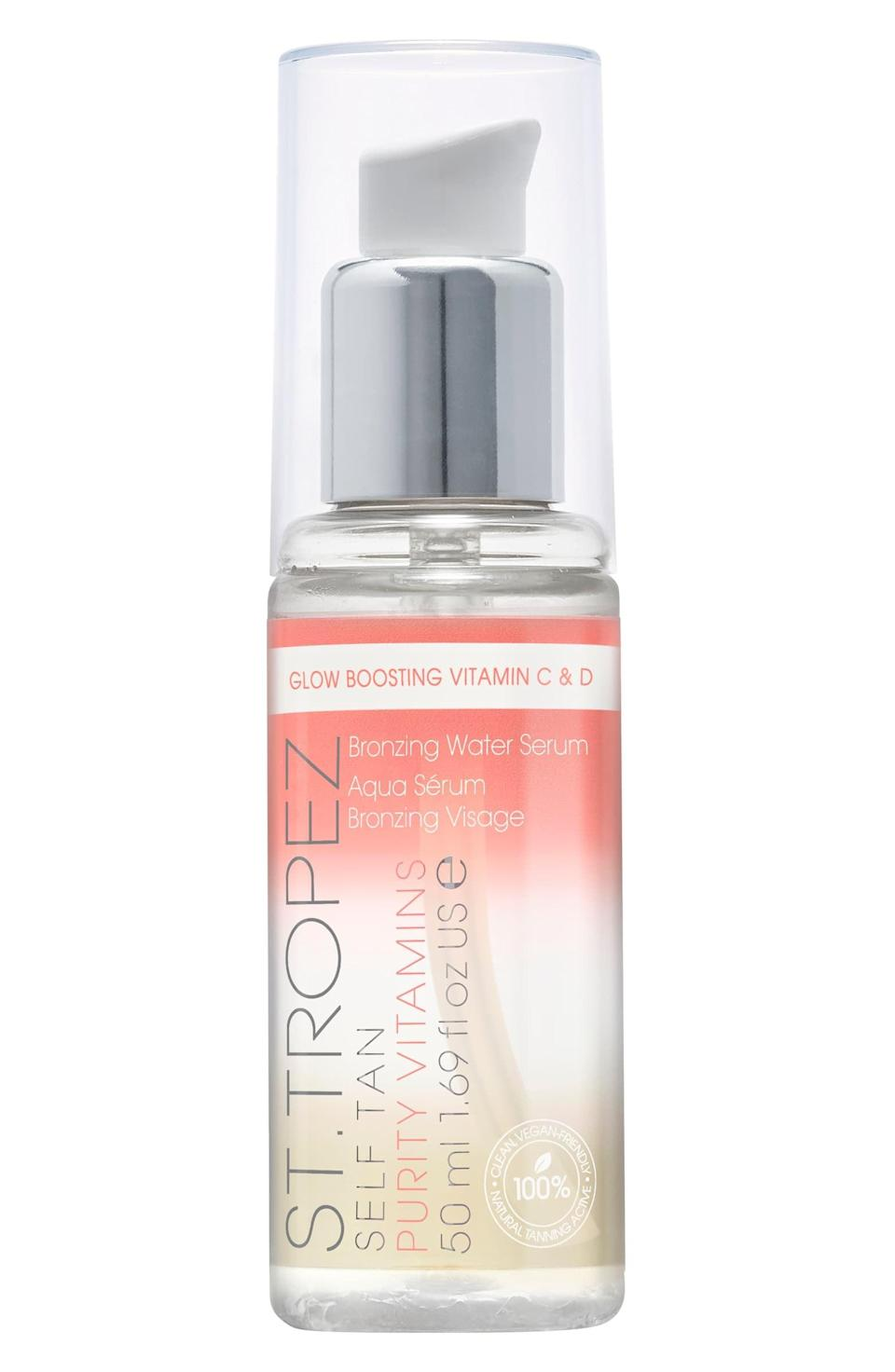 "<p>""Keeping my face thoroughly protected from the sun often means I have to look elsewhere for a little glow, and lately I've been reaching for the <a href=""https://www.popsugar.com/buy/St-Tropez-Self-Tan-Purity-Vitamins-Bronzing-Water-Face-Serum-578764?p_name=St.%20Tropez%20Self%20Tan%20Purity%20Vitamins%20Bronzing%20Water%20Face%20Serum&retailer=shop.nordstrom.com&pid=578764&price=30&evar1=bella%3Aus&evar9=47519595&evar98=https%3A%2F%2Fwww.popsugar.com%2Fbeauty%2Fphoto-gallery%2F47519595%2Fimage%2F47519644%2FSt-Tropez-Self-Tan-Purity-Vitamins-Bronzing-Water-Face-Serum&list1=must%20haves%2Ceditors%20pick%2Cskin%20care&prop13=mobile&pdata=1"" class=""link rapid-noclick-resp"" rel=""nofollow noopener"" target=""_blank"" data-ylk=""slk:St. Tropez Self Tan Purity Vitamins Bronzing Water Face Serum"">St. Tropez Self Tan Purity Vitamins Bronzing Water Face Serum</a> ($30). I mix a drop of this into my morning moisturizer to help even out and brighten my skin with hyaluronic acid and vitamins C+D. It gives me the faux-glow I'm looking for and does good things for me in the long run."" - Alanna Martine Kilkeary, associate beauty editor, Makeup.com and Skincare.com</p>"