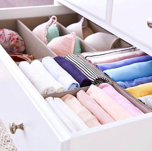 """<p>It may seem like extra clutter, but actually drawer dividers are a great way of compartmentalising your clothes so that you don't have to pull out every single top to find the one t-shirt you were looking for.</p><p><a class=""""link rapid-noclick-resp"""" href=""""https://go.redirectingat.com?id=127X1599956&url=https%3A%2F%2Fwww.johnlewis.com%2Fanyday-john-lewis-partners-2-section-organiser%2Fp4317172%3Fsku%3D238292716%26s_ppc%3D2dx92700057093051598%26tmad%3Dc%26tmcampid%3D2%26gclid%3DCj0KCQjw1ouKBhC5ARIsAHXNMI9wgQ_iprTGIhVWPwlF_Elqpm7EXjAr9_xUJEFq04a4Tbk6Pf4hjGsaAtTKEALw_wcB%26gclsrc%3Daw.ds&sref=https%3A%2F%2Fwww.cosmopolitan.com%2Fuk%2Finteriors%2Fg3725%2Fclever-storage-solutions%2F"""" rel=""""nofollow noopener"""" target=""""_blank"""" data-ylk=""""slk:SHOP NOW"""">SHOP NOW</a></p><p><a href=""""https://www.instagram.com/p/B3nOoJahScy/"""" rel=""""nofollow noopener"""" target=""""_blank"""" data-ylk=""""slk:See the original post on Instagram"""" class=""""link rapid-noclick-resp"""">See the original post on Instagram</a></p>"""
