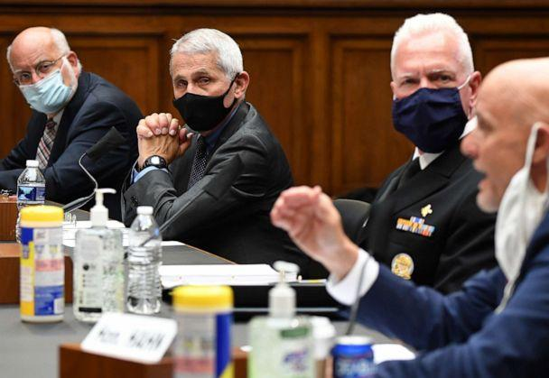 PHOTO: Dr. Robert Redfield, Dr. Anthony Fauci and Brett P. Giroir listen to Dr. Stephen M. Hahn as he testifies before the US Senate Health, Education, Labor, and Pensions Committee in Washington, DC on June 23, 2020. (Kevin Dietsch/POOL/AFP via Getty Images)