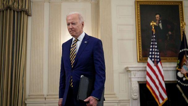 PHOTO: President Joe Biden departs after speaking about the nation's COVID-19 response and the vaccination program in the State Dining Room of the White House on June 18, 2021, in Washington. (Drew Angerer/Getty Images, FILE)