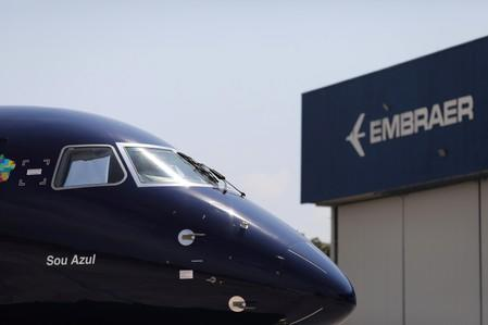 E2-195 plane with Brazil's No. 3 airline Azul SA logo is seen during a launch event in Sao Jose dos Campos