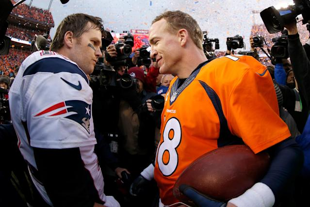 The Brady-Manning rivalry played out in dramatic fashion in the playoffs, including with trips to the Super Bowl on the line. (Getty Images)