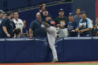 Boston Red Sox left fielder Alex Verdugo makes a catch against the Tampa Bay Rays in the eighth inning of Game 2 of a baseball American League Division Series, Friday, Oct. 8, 2021, in St. Petersburg, Fla. (AP Photo/Chris O'Meara)
