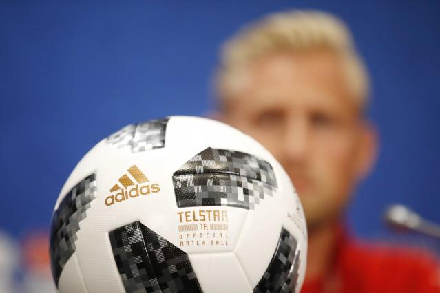 Soccer Football - World Cup - Denmark News Conference - Luzhniki Stadium, Moscow, Russia - June 25, 2018 Ball and Denmark's Kasper Schmeichel during news conference REUTERS/Carl Recine