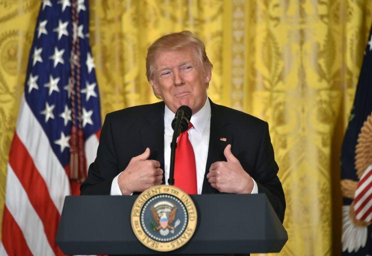 President Trump during a press conference at the White House on Thursday. (Photo: Nicholas Kamm/AFP/Getty Images)