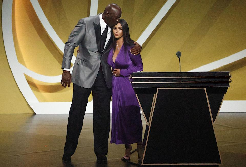 Vanessa Bryant is greeted by presenter Michael Jordan after speaking on behalf of Class of 2020 inductee, Kobe Bryant during the 2021 Basketball Hall of Fame Enshrinement Ceremony. (Photo: Maddie Meyer via Getty Images)