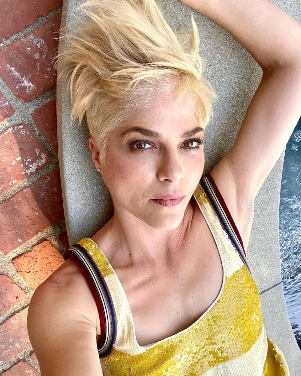 """""""This look is edgy and bold perfect for a seasonal change,"""" says Schaudt, who recommends pairing bright blond with a shorter cut. She says to ask for a bleach and tone, but to specify to keep the tone golden. """"This isn't ashy blonde for a reason, it's supposed to be summery and warm."""""""