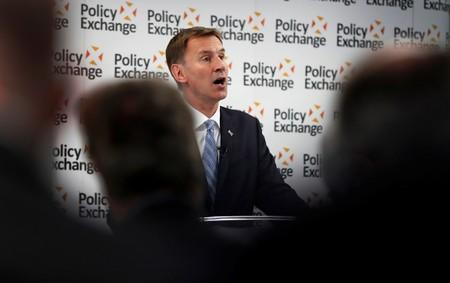 Jeremy Hunt, a leadership candidate for Britain's Conservative Party, delivers a speech in London