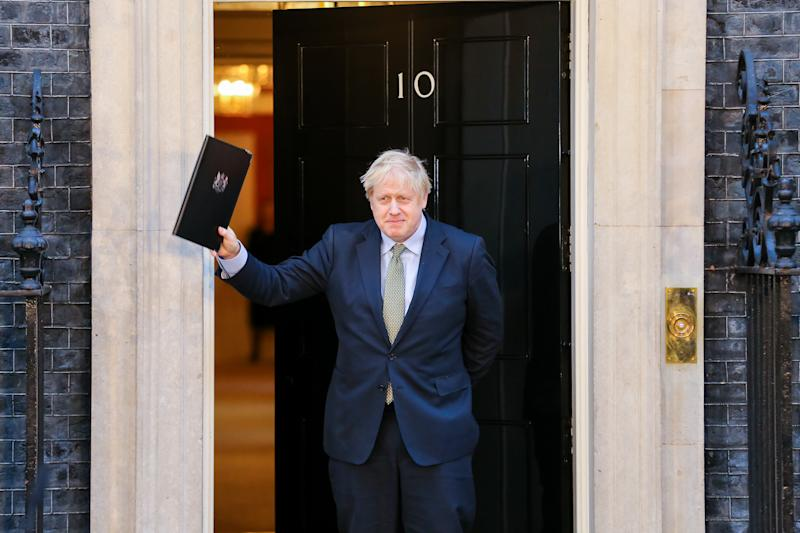 British Prime Minister Boris Johnson seen outside No 10 Downing Street, London after his gamble on early election paid off as the Conservative Party won a majority in the 2019 General Election. The Conservative Party's commanding majority will take United Kingdom out of the European Union by the end of January 2020. (Photo by Steve Taylor / SOPA Images/Sipa USA)