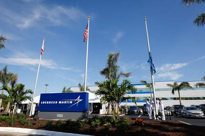 Flags were hoisted for the first time today at a new headquarters for the Fleet Ballistic Missile program in Titusville, Florida.