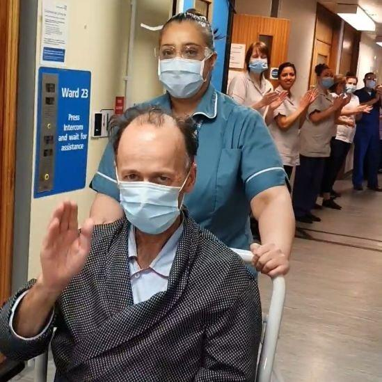 Hylton Murray-Phillipson, 61, being discharged from Leicester Infirmary