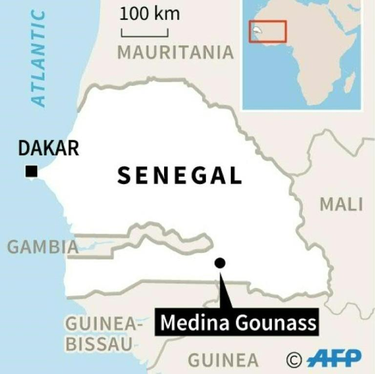 Map locating Medina Gounass in Senegal where a fire killed at least 22