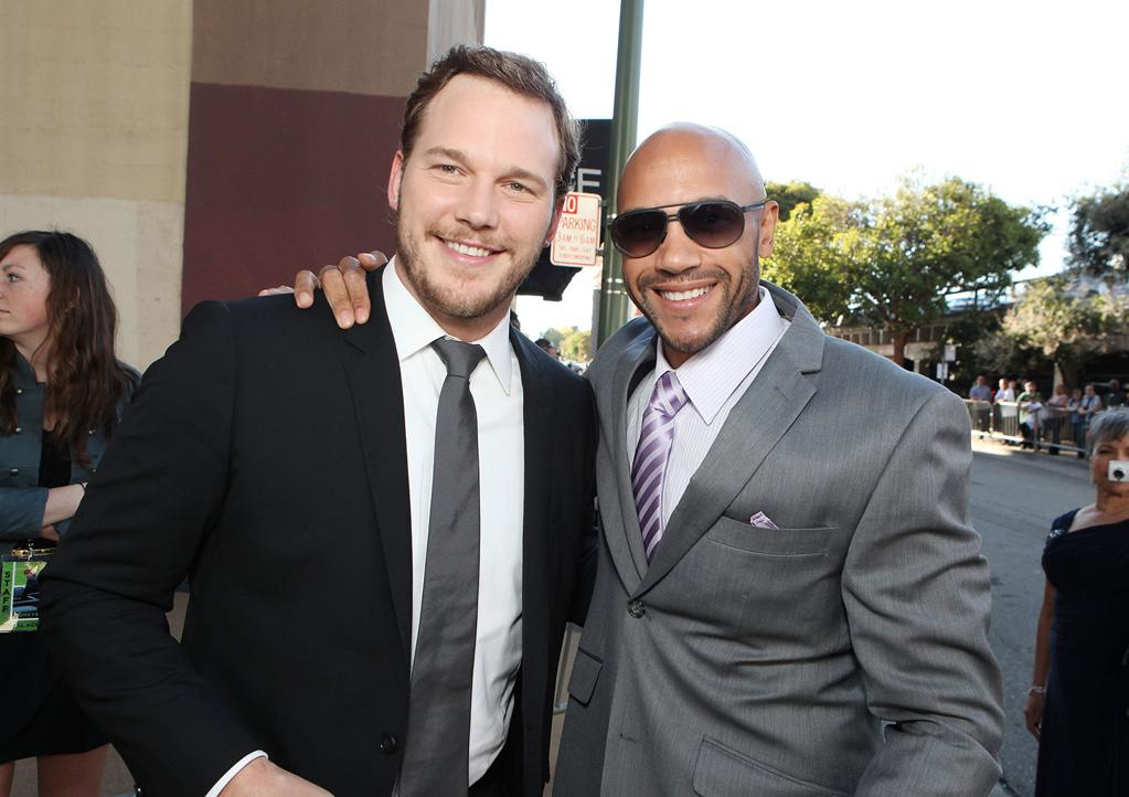 """<a href=""""http://movies.yahoo.com/movie/contributor/1808880348"""">Chris Pratt</a> and <a href=""""http://movies.yahoo.com/movie/contributor/1801925715"""">Stephen Bishop</a> at the Oakland premiere of <a href=""""http://movies.yahoo.com/movie/1810166670/info"""">Moneyball</a> on September 19, 2011."""