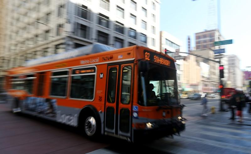 An L.A. Metro bus motors down Third Street in downtown Los Angeles on Aug. 7, 2015.