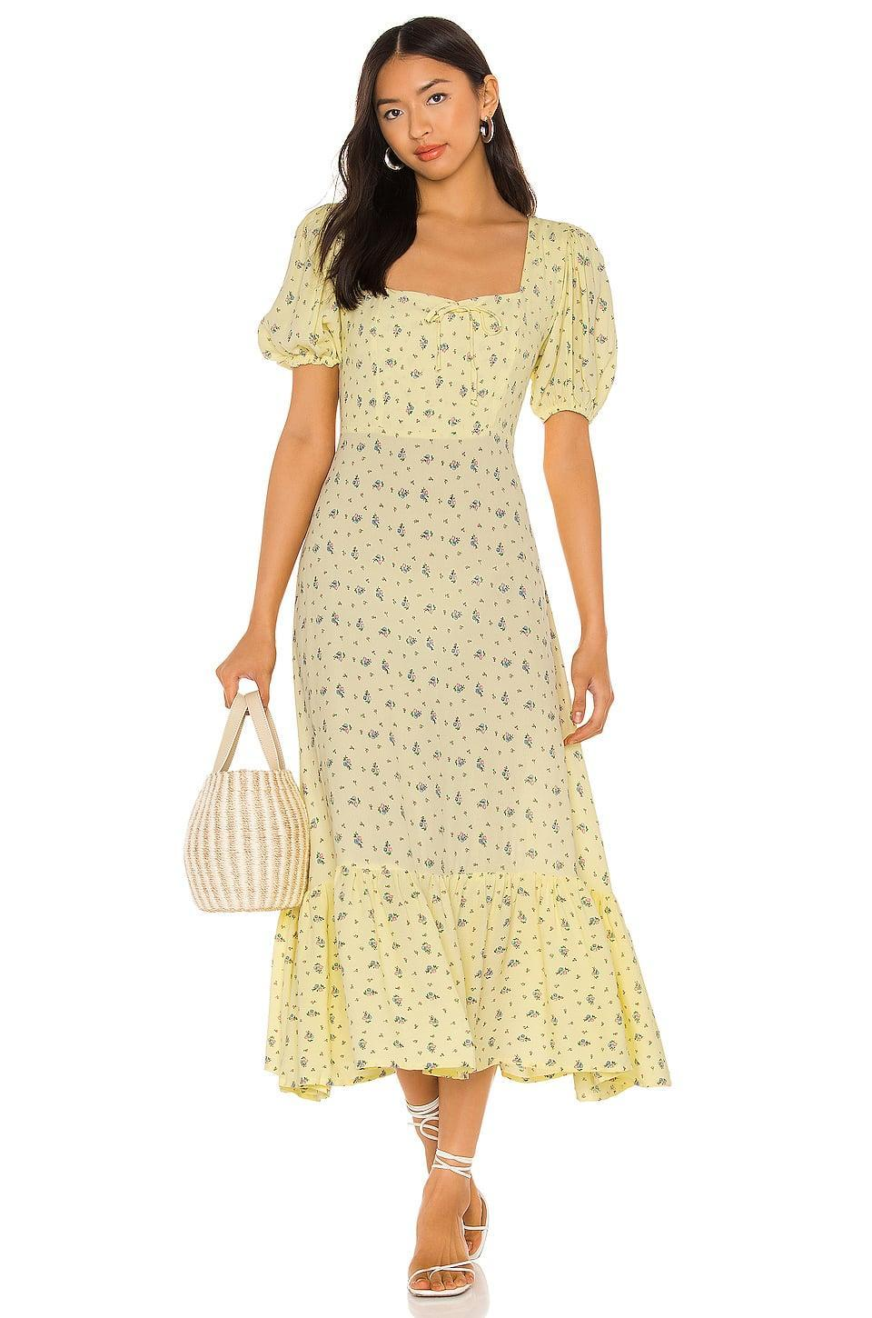 <p>We love the silhouette of this cute <span>Faithfull The Brand Gabriela Midi Dress</span> ($209).</p>