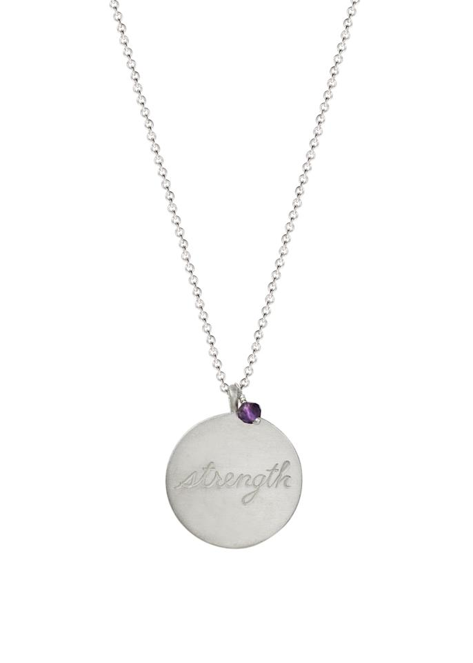 """<p>Sterling Silver Double -Sided Strength Paisley Disc with Amethyst Bead Pendant Necklace, $85, <a rel=""""nofollow"""" href=""""https://www.amazon.com/Me-Ro-Sterling-Double-Sided-Elephant/dp/B01LC85GDE/ref=sr_1_12?ie=UTF8&qid=1476642107&sr=8-12&keywords=me%26ro"""">amazon.com</a> </p>"""