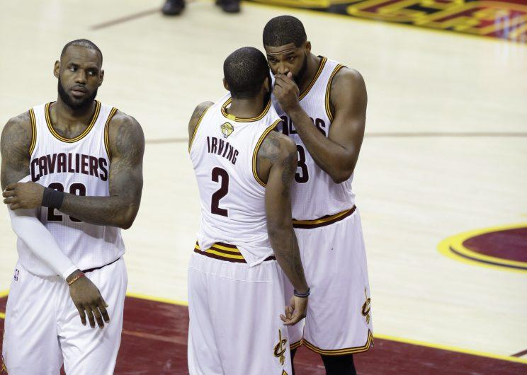 Kyrie Irving is probably not telling Tristan Thompson about his offseason plans. (AP)