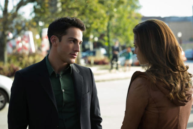 "Michael Trevino as Tyler and Phoebe Tonkin as Hayley in ""O Come, All Ye Faithful,"" the ninth episode of ""The Vampire Diaries"" Season 4."