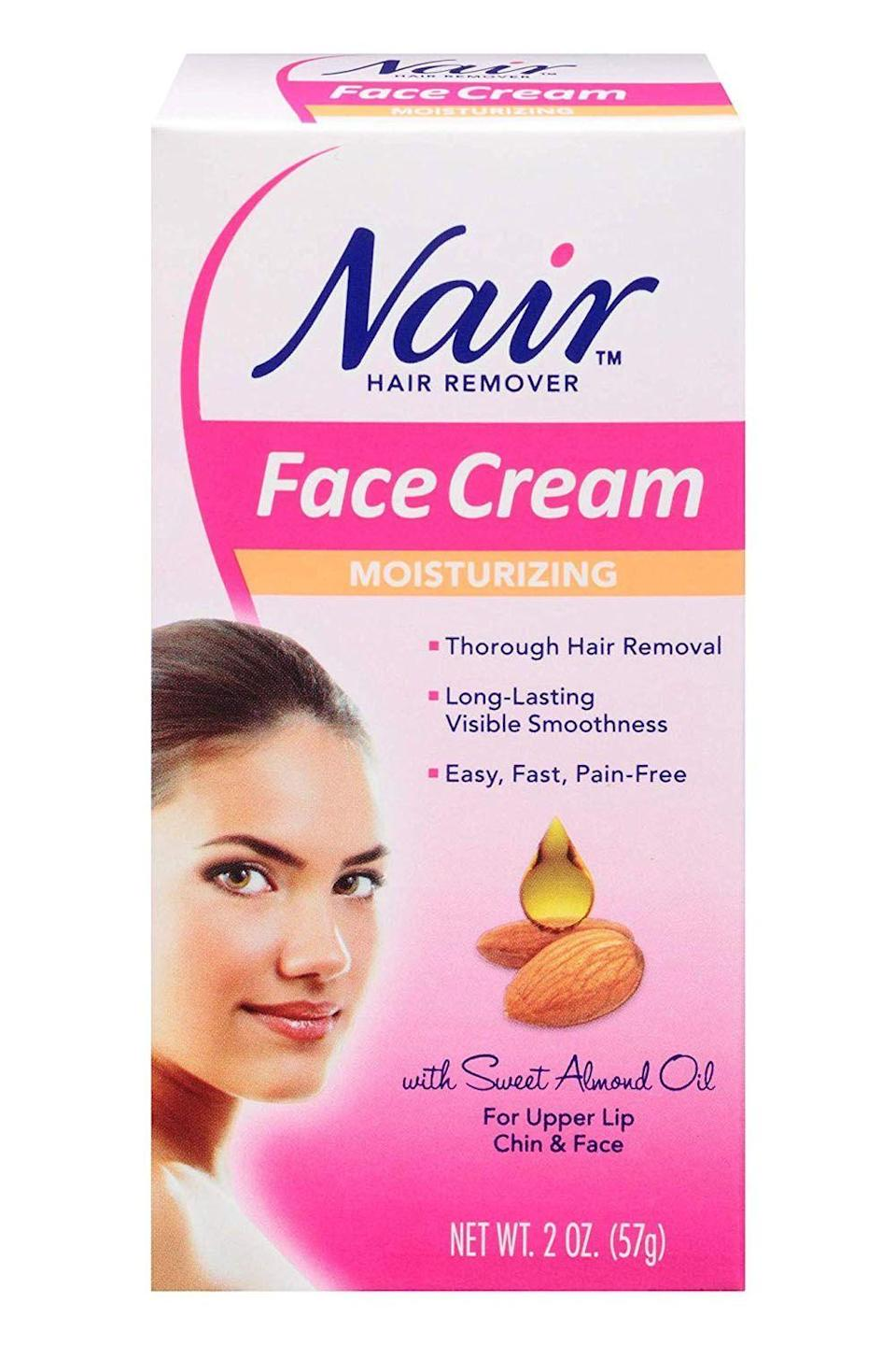 """<p><strong>Nair</strong></p><p>walmart.com</p><p><strong>$3.68</strong></p><p><a href=""""https://go.redirectingat.com?id=74968X1596630&url=https%3A%2F%2Fwww.walmart.com%2Fip%2F876459&sref=https%3A%2F%2Fwww.cosmopolitan.com%2Fstyle-beauty%2Fbeauty%2Fg28433811%2Fbest-hair-removal-creams%2F"""" rel=""""nofollow noopener"""" target=""""_blank"""" data-ylk=""""slk:Shop Now"""" class=""""link rapid-noclick-resp"""">Shop Now</a></p><p>Some hair removal creams can be drying and leave your skin feeling super tight. Not this one—it's formulated with sweet almond oil (a gentle, <a href=""""https://www.cosmopolitan.com/style-beauty/beauty/g27126744/moisturizer-sensitive-skin/"""" rel=""""nofollow noopener"""" target=""""_blank"""" data-ylk=""""slk:moisturizing"""" class=""""link rapid-noclick-resp"""">moisturizing</a> ingredient) to <strong>ensure your post–hair removal skin feels as soft as butter.</strong> (P.S. If your hair is on the coarse side, you can leave the cream on for up to 10 minutes.)</p>"""