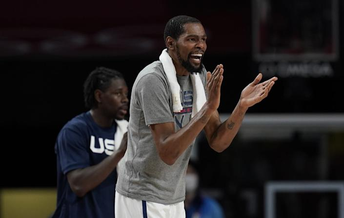 Kevin Durant cheers during Thursday's win over Australia in the Olympic men's basketball semifinals.