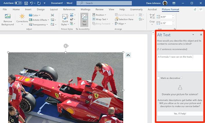 You can review and edit alt text when creating a PDF in Word using the Alt Text pane.