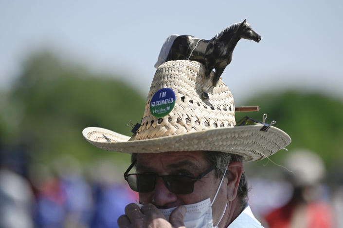 A vaccination pin is seen on a man's hat during the Preakness Stakes horse race at Pimlico Race Course, Saturday, May 15, 2021, in Baltimore. (AP Photo/Nick Wass)