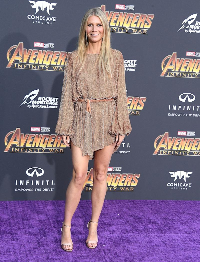 "Gwyneth Paltrow arrives at the ""Avengers: Infinity War"" premiere."