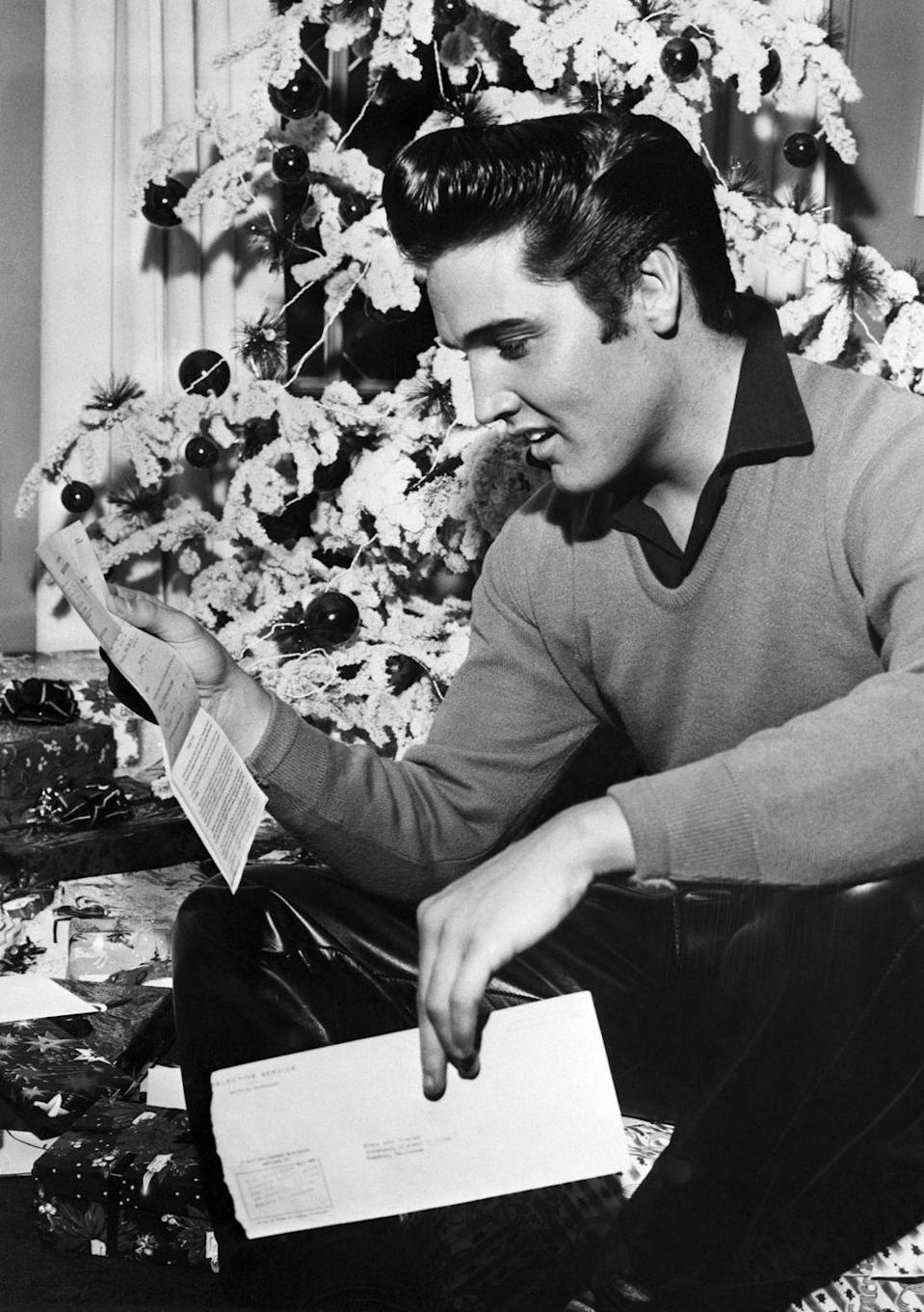 "<p>While Elvis was <a href=""https://www.history.com/this-day-in-history/elvis-presley-is-drafted"" rel=""nofollow noopener"" target=""_blank"" data-ylk=""slk:celebrating Christmas at Graceland"" class=""link rapid-noclick-resp"">celebrating Christmas at Graceland</a>, the singer received his draft notice for the Korean War. Elvis earned one service deferment so he could finish filming the movie <em>King Creole</em>. </p>"