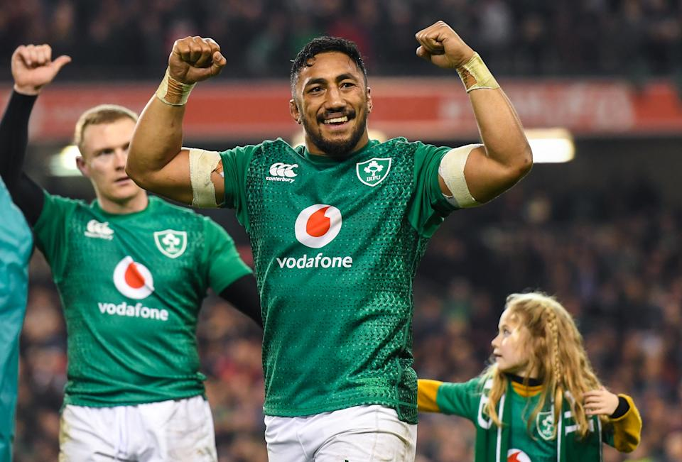 Dublin , Ireland - 17 November 2018; Bundee Aki of Ireland celebrates following his side's victory in the Guinness Series International match between Ireland and New Zealand at the Aviva Stadium in Dublin. (Photo By Ramsey Cardy/Sportsfile via Getty Images)