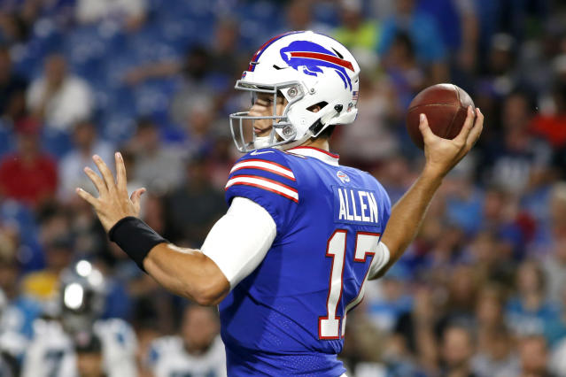 Josh Allen will start the third preseason game for the Bills. In two preseason games, he has gone 18-for-32 for 176 passing yards and two touchdowns. (AP)