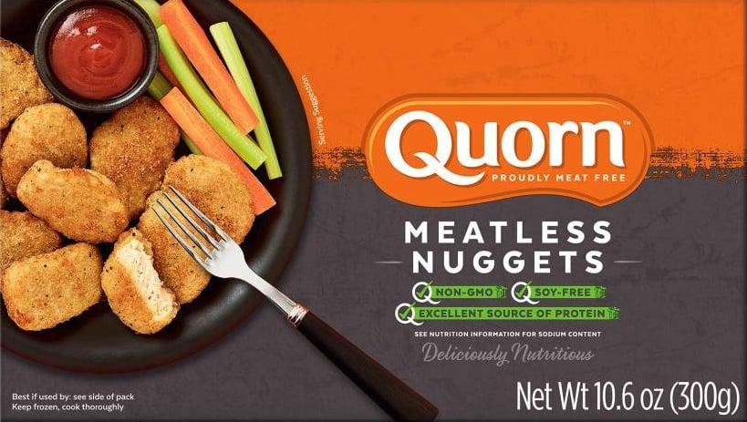 """<p>Based on the package I have right now at my house, <a href=""""https://www.popsugar.com/buy/Quorn-Meatless-Nuggets-488564?p_name=Quorn%20Meatless%20Nuggets&retailer=walmart.com&pid=488564&price=9&evar1=fit%3Auk&evar9=46585944&evar98=https%3A%2F%2Fwww.popsugar.com%2Ffitness%2Fphoto-gallery%2F46585944%2Fimage%2F46586283%2FQuorn-Meatless-Nuggets&list1=vegetarian%2Chealthy%20living%2Chealthy%20cooking%20tips%2Chealthy%20eating%20tips&prop13=api&pdata=1"""" rel=""""nofollow"""" data-shoppable-link=""""1"""" target=""""_blank"""" class=""""ga-track"""" data-ga-category=""""Related"""" data-ga-label=""""https://www.walmart.com/ip/Quorn-Chik-n-Nuggets-Meatless-Soy-Free-10-6-OZ/42350242"""" data-ga-action=""""In-Line Links"""">Quorn Meatless Nuggets</a> ($9) include this per five-nugget serving:</p> <ul> <li> <strong>Calories:</strong> 240</li> <li> <strong>Total fat:</strong> 10 grams</li> <li> <strong>Total carbohydrates: </strong>29 grams</li> <li> <strong>Dietary fiber:</strong> 7 grams</li> <li> <strong>Sugars:</strong> 3 grams</li> <li> <strong>Protein:</strong> 12 grams</li> </ul> <p>Note: you can buy these in stores like Whole Foods, Stop &amp; Shop, and more!</p>"""