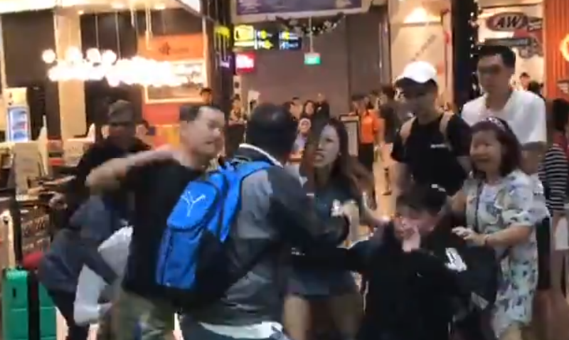 Screenshot of a fight at the A&W outlet in Jewel Changi Airport posted. (VIDEO: Lekha.C.Siva/Twitter)